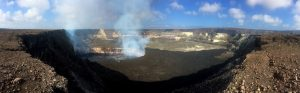 This panorama, taken from the eastern rim of Halema'uma'u, shows the lava lake within the Overlook crater. The lake surface this morning was about 40 meters (130 ft) below the floor of Halema'uma'u. Mauna Loa spans much of the skyline near the center of the image; HVO and Jaggar Museum can be seen on the distant caldera rim (right side of image). Photo taken Wednesday, September 13, 2017 courtesy of USGS/HVO