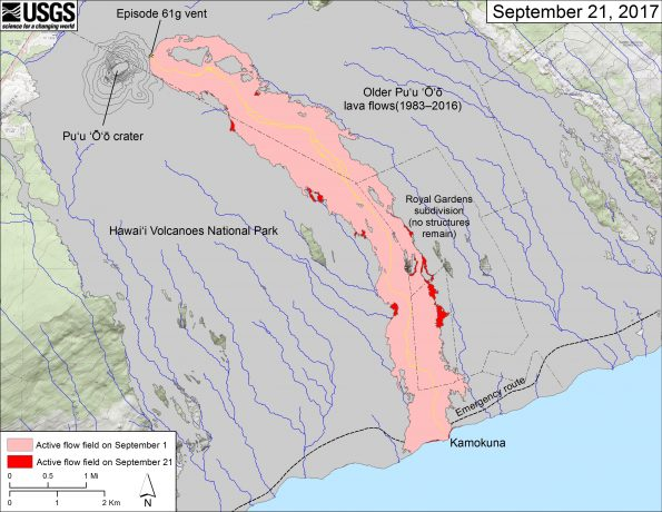 This map shows recent changes to Kīlauea's East Rift Zone lava flow field. The area of the active flow field as of September 1 is shown in pink, while widening and advancement of the active flow as of September 21 is shown in red. Older Pu'u 'Ō'ō lava flows (1983–2016) are shown in gray. The yellow line is the trace of the active lava tube.  The blue lines over the Pu'u 'Ō'ō flow field are steepest-descent paths calculated from a 2013 digital elevation model (DEM), while the blue lines on the rest of the map are steepest-descent paths calculated from a 1983 DEM (for calculation details, see http://pubs.usgs.gov/of/2007/1264/). Steepest-descent path analysis is based on the assumption that the DEM perfectly represents the earth's surface. DEMs, however, are not perfect, so the blue lines on this map can be used to infer only approximate flow paths. The base map is a partly transparent 1:24,000-scale USGS digital topographic map draped over the 1983 10-m digital elevation model (DEM).
