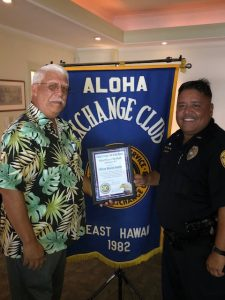 Officer Marcos Santos awarded by the Aloha Exchange Club.