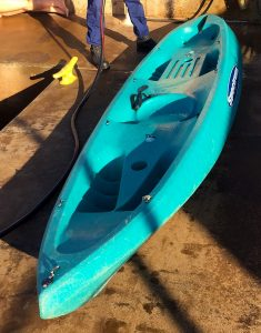 The Coast Guard is seeking the public's help identifying the owner of an unmanned adrift, blue kayak off Maalaea Harbor, Maui, Oct. 22, 2017. Anyone with information that may help identify the owner of the kayak is asked to contact Sector Honolulu at 808-842-2600. (U.S. Coast Guard photo/Released)