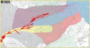"Close up of Sheet 2 of ""Lava inundation zone maps for Mauna Loa, Island of Hawaiʻi,"" recently published by the U.S. Geological Survey. Colors depict lava Inundation zones for the Kaumana, Waiākea, and Volcano-Mountain View regions on Mauna Loa. Yellow indicates the volcano's Northeast Rift Zone, one area along which lava could erupt. The extent of the 1984 eruption and lava flow has been superimposed on the map (shown in red). Had the Mauna Loa inundation maps been available in 1984, they could have been used to determine that the northern portion of Hilo was the most likely area to be impacted by the main lava flow. USGS map."