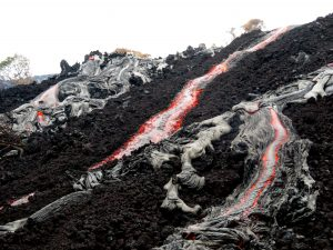 'A'ā and pāhoehoe lava on the steep portion of the pali. Photo taken Thursday, December 21, 2017 courtesy of U.S. Geological Survey
