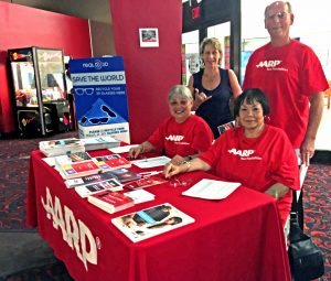 AARP volunteers in Hilo at the movies.