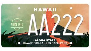 Hawaii Volcanoes National Park Specialty State License Plate.