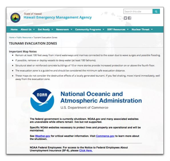 What people saw when they went to the Hawaii Emergency Management Agency website during the Tsunami Watch on Tuesday, January 23, 2018.