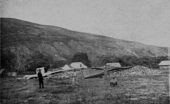 """Destruction caused by the 1868 great Ka'ū earthquake included the Wai'ōhinu church, shown here, in the Ka'ū District of Hawaiʻi Island. With a magnitude estimated at 7.9, the earthquake is the largest in Hawaii's recorded history. Photo by Henry L. Chase, published in """"Volcanoes of Kīlauea and Mauna Loa on the Island of Hawaiʻi"""" by W.T. Brigham, Bishop Museum Press, 1909."""