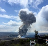 Today at 10:28 a.m. HST, a partial collapse of the southern Overlook crater wall triggered an explosive event at Kīlauea Volcano's summit lava lake. A large plume of gas, ash, and lava fragments was seen rising from the lava lake at the Jaggar overlook. The explosion threw debris onto the Halema'uma'u crater rim at the old visitor overlook, which has been closed due to ongoing volcanic hazards such as this explosive event. Photo taken Friday, April 6, 2018 courtesy of U.S. Geological Survey