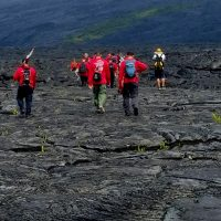 The Journey begins in a Kalapana lava field.