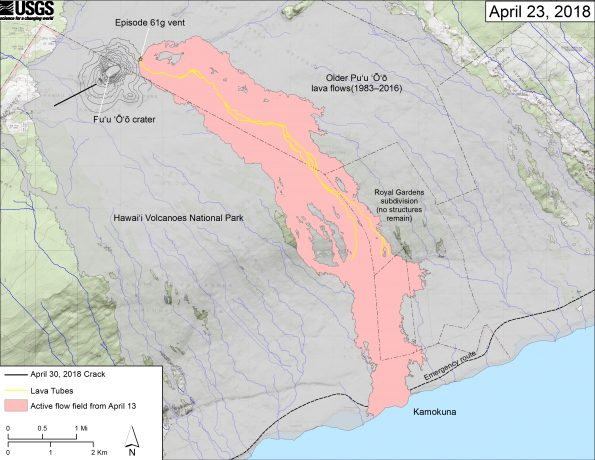 This map shows recent changes to Kīlauea's East Rift Zone lava flow field and Pu'u 'Ō'ō cone. The 61g flow field, as of April 13, 2018, is shown in pink. The crack that formed on the west side of Pu'u 'Ō'ō on April 30th, 2018, during or immediately after the crater floor collapse is shown as a solid black line. Older Pu'u 'Ō'ō lava flows (1983–2016) are shown in gray. The yellow line is the trace of the active lava tubes. The Kamokuna ocean entry is inactive. The blue lines over the Pu'u 'Ō'ō flow field are steepest-descent paths calculated from a 2013 digital elevation model (DEM), while the blue lines on the rest of the map are steepest-descent paths calculated from a 1983 DEM (for calculation details, see http://pubs.usgs.gov/of/2007/1264/). Steepest-descent path analysis is based on the assumption that the DEM perfectly represents the earth's surface. DEMs, however, are not perfect, so the blue lines on this map can be used to infer only approximate flow paths. The base map is a partly transparent 1:24,000-scale USGS digital topographic map draped over the 1983 10-m digital elevation model (DEM).