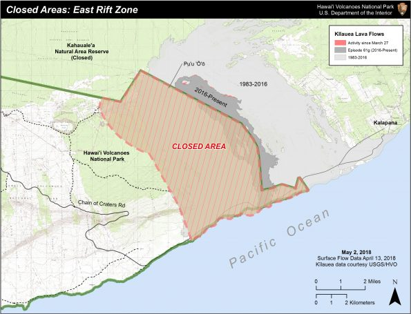 Partial Hawaii Volcanoes National Park closure due to Pu'u 'Ō'ō eruptive phase.