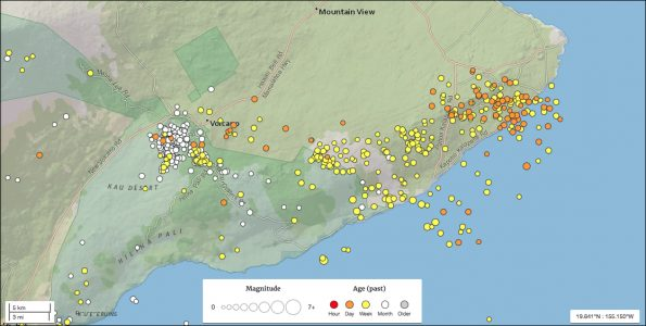 Recent earthquakes on Hawaii Island as of 7:21 a.m. Thursday, May 3, 2018. Map via USGS