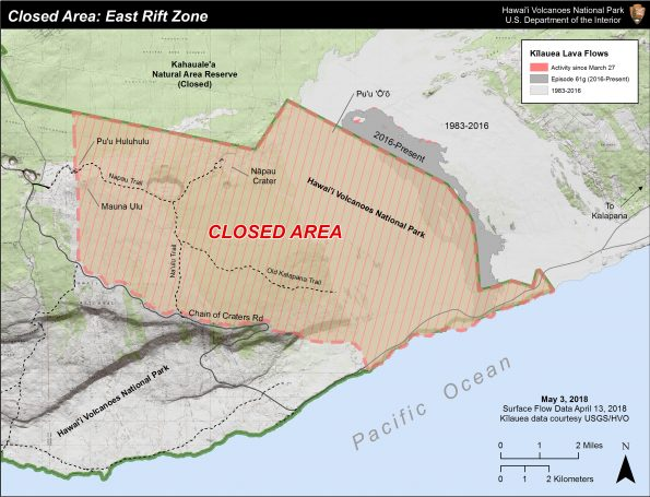 Closed area of Hawaii Volcanoes National Park due to volcanic activity as of May 3, 2018.