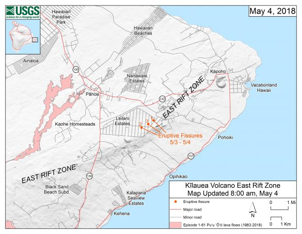 This map shows the locations, mapped by USGS-HVO scientists, of the three eruptive fissures in the order that they occurred in the Leilani Estates Subdivision as of 8:00 a.m. HST today (May 4). The fissures are jetting copious amounts of sulfur dioxide gas, which should be avoided. Spatter is also being emitted, but lava flows are not extending far from the active fissures. The eruption remains dynamic, which means that changes could occur with little notice. Updated maps will be posted on this webpage as new information becomes available. Eruption updates are posted on HVO's website at https://volcanoes.usgs.gov/volcanoes/kilauea/status.html -- or you can sign up to receive automatic update messages through the USGS Volcano Notification Service at http://volcanoes.usgs.gov/vns/. USGS-HVO scientists continue to closely monitor the volcanic activity on Kīlauea Volcano's lower East Rift Zone.