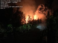 A new lava fissure commenced around 1:00 am HST on Kīlauea Volcano's lower East Rift Zone on Makamae and Leilani Streets in the Leilani Estates subdivision. Spatter was being thrown roughly 30 m (about 100 ft) high at the time of this photo. Copious amounts of sulfur dioxide gas, which should be avoided, is emitted from active fissures. The eruption is dynamic and changes could occur with little warning. Photo taken Friday, May 4, 2018 courtesy of U.S. Geological Survey