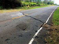 At 12:26 p.m. HST today, a crack opened on Pohoiki Road just east of Leilani Street in the Leilani Estates subdivsion. Photo taken Saturday, May 5, 2018 courtesy of U.S. Geological Survey