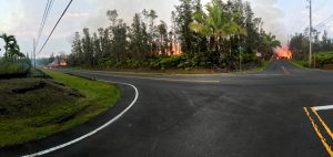 A panoramic view of fissure 7 from the intersection of Leilani and Makamae Streets in the Leilani Estates subdivision. This photo was taken at 06:01 a.m. HST today. Photo taken Saturday, May 5, 2018 courtesy of U.S. Geological Survey