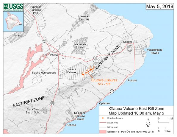 This map shows the locations, mapped by USGS-HVO scientists, of eruptive fissures in the order that they occurred in the Leilani Estates Subdivision as of 10 a.m. HST today (May 5). Eruption updates are posted on HVO's website at https://volcanoes.usgs.gov/volcanoes/kilauea/status.html -- or you can sign up to receive automatic update messages through the USGS Volcano Notification Service at http://volcanoes.usgs.gov/vns/
