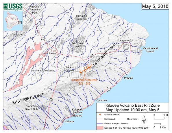 This map shows the locations of eruptive fissures in the order that they occurred in the Leilani Estates Subdivision as of 10 a.m. HST today (May 5). The blue lines are paths of steepest descent that identify likely paths of a lava flow, if and when lava moves downhill from an erupting vent. The paths of steepest-descent were calculated from a 1983 digital elevation model (DEM) of the Island of Hawai'i, created from digitized contours. Steepest-descent path analysis is based on the assumption that the DEM perfectly represents the earth's surface. DEMs, however, are not perfect, so the blue lines on this map can be used to infer only approximate lava-flow paths. The base shaded-relief map was made from the 1983 10-m (DEM). For additional explanation of steepest descent paths, see http://pubs.usgs.gov/of/2007/1264. For calculation details, ESRI shapefiles, and KMZ versions of steepest descent paths, see https://www.sciencebase.gov/catalog/item/57fd072ee4b0824b2d130eb5.