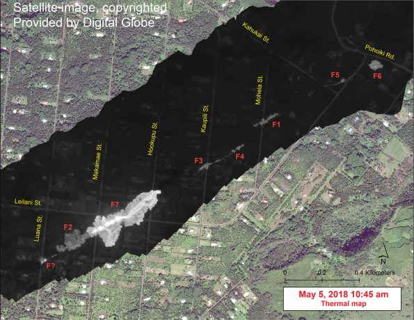 This map overlays a georegistered mosaic of thermal images collected during a helicopter overflight of the fissures in Leilani Estates, Island of Hawai'i, at 10:45 a.m. HST on May 5. The base is a copyrighted satellite image (used with permission) provided by Digital Globe. Temperature in the thermal image is displayed as gray-scale values, with the brightest pixels indicating the hottest areas (white shows active breakouts). During the overflight, fissure 7 stands out as the first fissure to produce a small lava flow. When the thermal images were collected, the flow was about 260 m (853 ft) long. The thermal map was constructed by stitching many overlapping oblique thermal images collected by a handheld thermal camera during a helicopter overflight of the flow field.