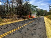 Lava moving down Makamae Street in Leilani Estates at 9:32 a.m. on May 6, 2018. Photo taken Sunday, May 6, 2018 courtesy of U.S. Geological Survey