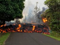 A lava flow moves on Makamae Street in Leilani Estates at 09:32 am HST on May 6. Photo taken Sunday, May 6, 2018 courtesy of U.S. Geological Survey