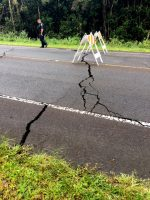 Roadway cracks on Pahoa-Kalapana Road (Route 130). Photo courtesy of HDOT