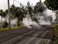 At 10:00 a.m. HST, steam rose from fissure 9 on Moku Street in the Leilani Estates Subdivision. HVO scientists on the scene reported hearing rumbling noises in the area. Photo taken Monday, May 7, 2018 courtesy of U.S. Geological Survey