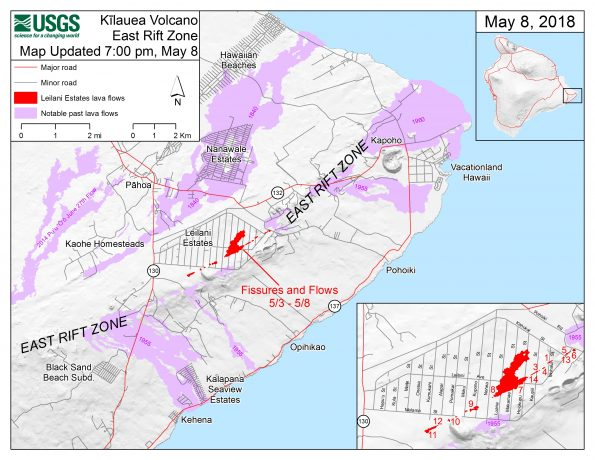 This map shows the locations of fissures and an 'a'ā flow erupted since May 3 in the order that they occurred in Leilani Estates as of 7:00 p.m. HST, May 8. The purple areas are lava flows erupted in 1840, 1955, 1960, and 2014-2015.