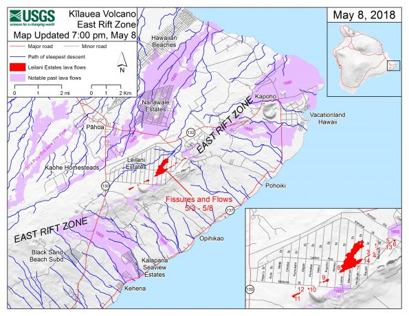 This map shows the locations of fissures and an 'a'ā flow erupted since May 3 in the order that they occurred in Leilani Estates as of 7:00 p.m. HST, May 8. The purple areas are lava flows erupted in 1840, 1955, 1960, and 2014-2015. The blue lines are paths of steepest descent that identify likely paths of a lava flow, if and when lava moves downhill from an erupting vent. The paths of steepest-descent were calculated from a 1983 digital elevation model (DEM) of the Island of Hawai'i, created from digitized contours. Steepest-descent path analysis is based on the assumption that the DEM perfectly represents the earth's surface. DEMs, however, are not perfect, so the blue lines on this map can be used to infer only approximate lava-flow paths. The base shaded-relief map was made from the 1983 10-m (DEM). For additional explanation of steepest descent paths, see http://pubs.usgs.gov/of/2007/1264. For calculation details, ESRI shapefiles, and KMZ versions of steepest descent paths, see https://www.sciencebase.gov/catalog/item/57fd072ee4b0824b2d130eb5.