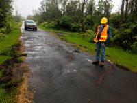 This morning HVO geologists examined existing ground cracks on and near Highway 130. One crack on Highway 130 widened about 4 cm (1.6 in) in the past 24 hours. This crack located on Ala'ili road. Photo taken Tuesday, May 8, 2018 courtesy of U.S. Geological Survey