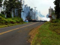 At 2:47 p.m. HST. A new fissure (13) erupted across Leilani Street. View is toward the southwest on Leilani Street near the intersection with Pohoiki Road. Fissure 13 is located between fissures 1 and 6. Photo taken Tuesday, May 8, 2018 courtesy of U.S. Geological Survey