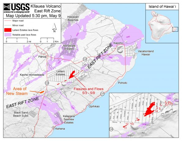 This map shows the locations of fissures and an 'a'ā flow erupted since May 3 in the order that they occurred in Leilani Estates as of 5:30 p.m. HST, May 9. Note the area of heavy steaming from ground cracks that began earlier this afternoon, located west of Highway 130. The purple areas are lava flows erupted in 1840, 1955, 1960, and 2014-2015.