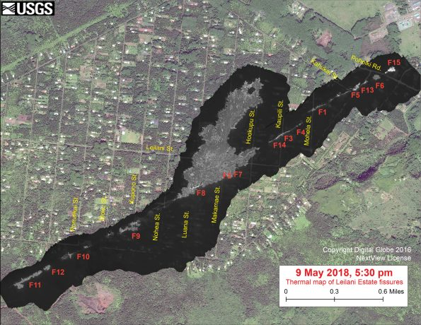 This thermal map shows the fissure system during an overflight of the area this afternoon. Fissure 15, at the northeast end of the fissure system, formed today but was only briefly active. The black and white area is the extent of the thermal map. Temperature in the thermal image is displayed as gray-scale values, with the brightest pixels indicating the hottest areas. The thermal map was constructed by stitching many overlapping oblique thermal images collected by a handheld thermal camera during a helicopter overflight of the flow field. The base is a copyrighted color satellite image (used with permission) provided by Digital Globe.