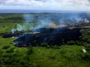At 2:00 p.m. HST. View of Fissure 17 looking makai (southward) from Hwy 132. Photo taken Sunday, May 13, 2018 courtesy of U.S. Geological Survey