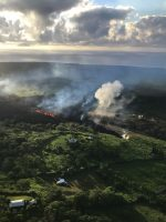 Photo taken at 7 a.m., HST. An early morning view of fissure 17, still erupting and supplying lava to a flow that was still advancing (out of view). View is looking toward the east. Photo taken Monday, May 14, 2018 courtesy of U.S. Geological Survey