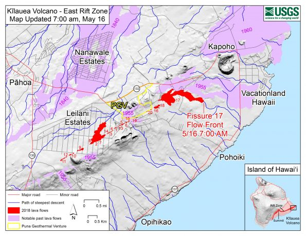 Map shows the location of the lava flow spreading from fissure 17 as of 7:00 a.m. HST, May 16. The flow is following a path of steepest descent (blue line) south of a 1955 'a'ā flow. Shaded purple areas indicate lava flows erupted in 1840, 1955, 1960, and 2014-2015.