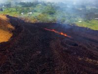 At about 07:00 a.m. HST, Fissure 17 as shown from the air. The HVO field crew reported that the spattering height and intensity at Fissure 17 seemed to have intensified slightly from yesterday, but the length of active spattering in the fissure is shorter. The overall vigor of Fissure 17 appears to have dropped over the past two days, accompanying a stalling of the Fissure 17 flow front. Photo taken Thursday, May 17, 2018 courtesy of U.S. Geological Survey