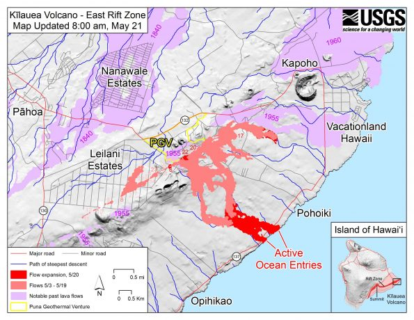 Map as of 8:00 am HST, May 21. Shaded purple areas indicate lava flows erupted in 1840, 1955, 1960, and 2014-2015.