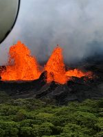 Helicopter overflight of Kīlauea Volcano's Lower East Rift Zone shows fountaining at Fissure 22. Photo taken Monday, May 21, 2018 courtesy of U.S. Geological Survey