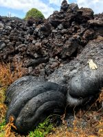 Solidified lava from Fissure 17 (located to the east of the currently active fissure complex) has a consistency similar to toothpaste. Photo taken Tuesday, May 22, 2018 courtesy of U.S. Geological Survey