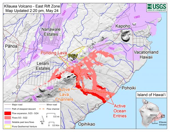 Map as of 2:20 p.m. HST, May 24. Shaded purple areas indicate lava flows erupted in 1840, 1955, 1960, and 2014-2015.