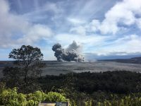 View of a rising ash plume from Halema'uma'u, a crater at the summit of Kīlauea, late yesterday (May 24, 2018), as seen from the caldera rim near Volcano House. USGS scientists are stationed at this vantage point to track the ongoing summit explosions. Photo taken Thursday, May 24, 2018 courtesy of U.S. Geological Survey