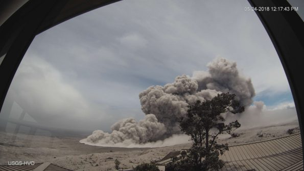 Poor weather at the summit of Kīlauea has obscured views of Halema'uma'u for much of today, but a brief break in the weather around noon allowed HVO's webcam to capture this image of an ash plume rising from the crater at 12:17 p.m. HST. Even though weather has obscured visual observations of the ongoing summit explosions, HVO scientists are able to track them using signals from monitoring instruments, such as seismometers. Photo taken Thursday, May 24, 2018 courtesy of U.S. Geological Survey