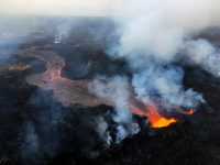 During HVO's overflight this morning, the fissure 22 fountain was not as high as several days ago, but was still erupting significant lava. USGS photo by M. Patrick.