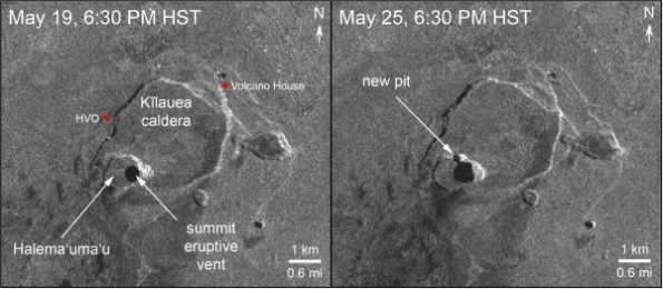 This image shows radar data acquired by the European Space Agency's Sentinel-1 satellite over Kīlauea Volcano on May 19 at 6:30 PM HST (left) compared to May 25 at 6:30 PM HST (right). The satellite transmits a radar signal toward the surface and measures the strength of the return, with bright areas indicating a strong return and dark areas a weak return. Strong returns indicate rough surfaces or slopes that point back at the radar, while weak returns come from smooth surfaces or slopes angled away from the radar. Comparing the two images shows that the summit eruptive vent continues to expand as the unsupported conduit walls collapse. As of the afternoon of May 25, the vent expansion included not only continued westward growth of the vent rim, but also a subsidiary pit on the north part of the floor of Halema'uma'u crater. The vent area is now approximately 90 acres, and we anticipate further enlargements over the coming days to weeks as subsidence of Kīlauea caldera, rockfalls, and small explosions continue.