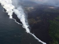 "Aerial view of the active ocean entries at Kīlauea Volcano's lower East Rift Zone captured during this morning's HVO overflight. An ongoing hazard at the ocean entries is laze. As hot lava boils cool seawater, a series of chemical and physical reactions create a mixture of condensed acidic steam, hydrochloric acid gas, and tiny shards of volcanic glass. Blown by wind, this plume creates a noticeable downwind haze, known as ""laze"" (short for lava haze). Laze is irritating to the lungs, eyes and skin."
