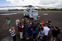 Two US Marine Corps CH-53 Sea Stallion helicopters and crews, out of Kaneohe Marine Corps Air Station, are at Hilo International Airport until Monday (May 28) on standby should they be needed to airlift evacuees out of the lower East Rift Zone. The media got to talk to the crew and tour the helicopters Friday (May 25). Photography by Baron Sekiya | Hawaii 24/7