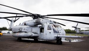 Two US Marine Corps CH-53 Sea Stallion helicopters and crews, out of Kaneohe Marine Corps Air Station, are at Hilo International Airport until Monday (May 28) on standby should they be needed to airlift evacuees out of the lower East Rift Zone. Photography by Baron Sekiya | Hawaii 24/7