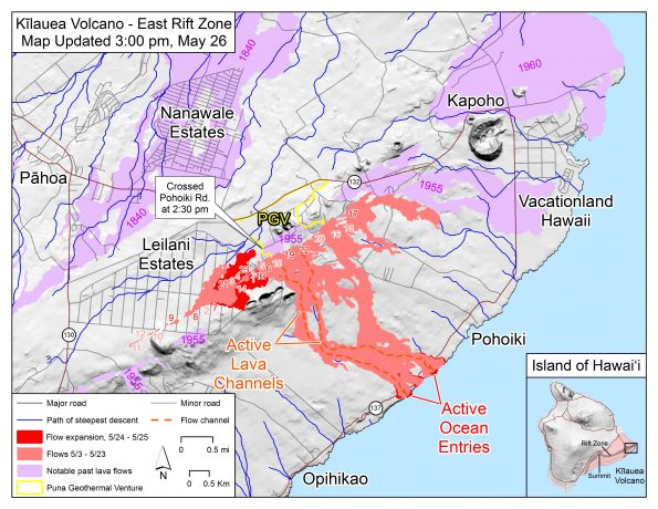 Map as of 3:00 p.m. HST, May 26. Shaded purple areas indicate lava flows erupted in 1840, 1955, 1960, and 2014-2015.