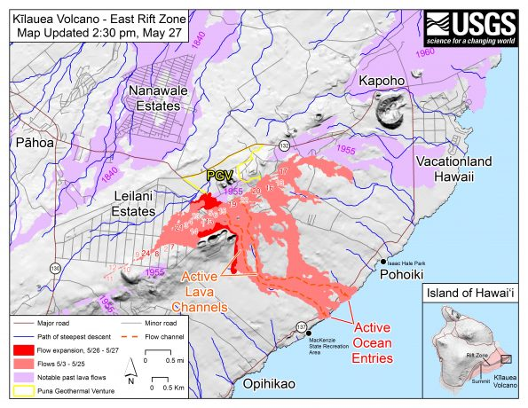 Map as of 2:30 p.m. HST, May 27, 2018. Shaded purple areas indicate lava flows erupted in 1840, 1955, 1960, and 2014-2015.